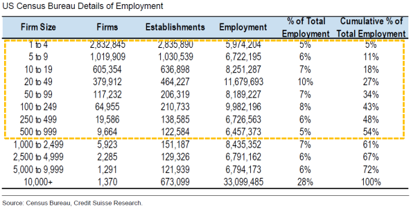 employment by firm size
